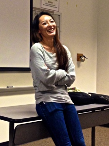 Shiho Fukada, noted photojournalist, talks with journalism students at Elon University,  Photo by Erin Valentine